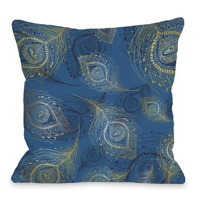 Amalia Peacock Throw Pillow Size: 20 H x 20 W x 4 D, Color: Blue