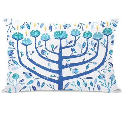 Menorah Lumbar Pillow Color: Blue