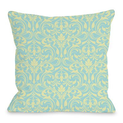 Athena Florals Throw Pillow Size: 16 H x 16 W x 3 D, Color: Light Blue/Chartreuse