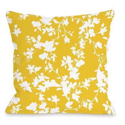 Penelope Florals Throw Pillow Size: 18 H x 18 W x 3 D, Color: Yellow