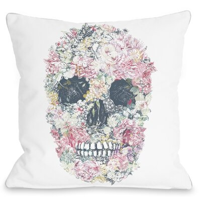 Dia Muertos Skull Flowers Throw Pillow Size: 16 H x 16 W x 3 D, Color: White Multi
