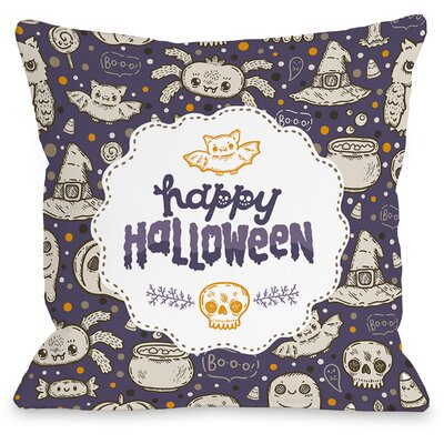 Halloween Friends Throw Pillow Size: 16 H x 16 W x 3 D