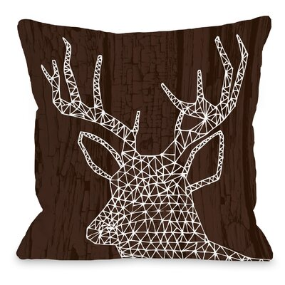 Geo Deer Throw Pillow Size: 18 H x 18 W x 3 D, Color: Brown