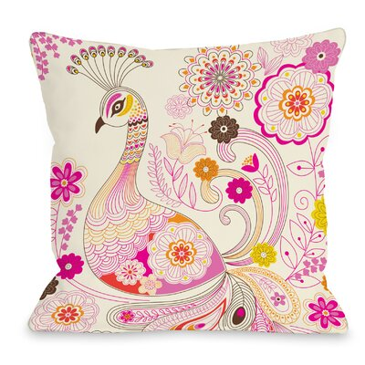 Peacock Throw Pillow Size: 16 H x 16 W x 3 D
