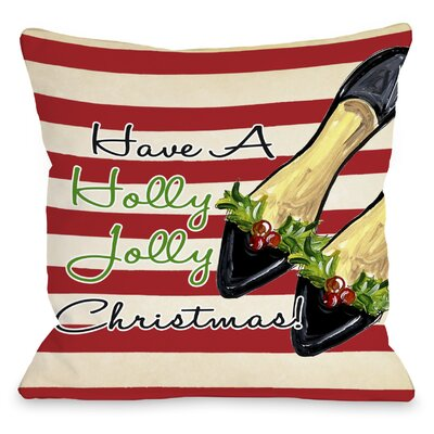 Holly Jolly Christmas Shoes Throw Pillow Size: 18 H x 18 W x 3 D
