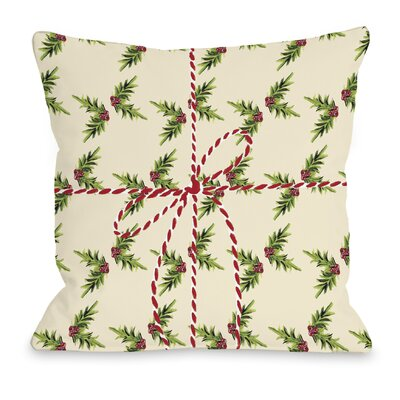 Holly Package Throw Pillow Size: 16 H x 16 W x 3 D