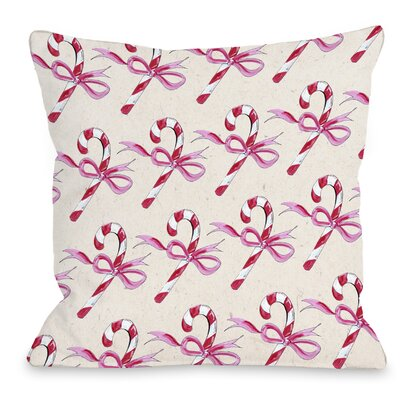 Candy Cane Bows Throw Pillow Size: 16 H x 16 W x 3 D