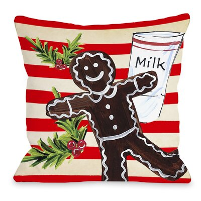 Gingerbread Cookie and Milk Throw Pillow Size: 18 H x 18 W x 3 D