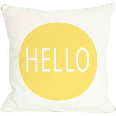 Hello Circle Throw Pillow Color: Yellow