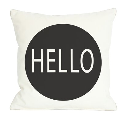 Hello Circle Throw Pillow Color: Black
