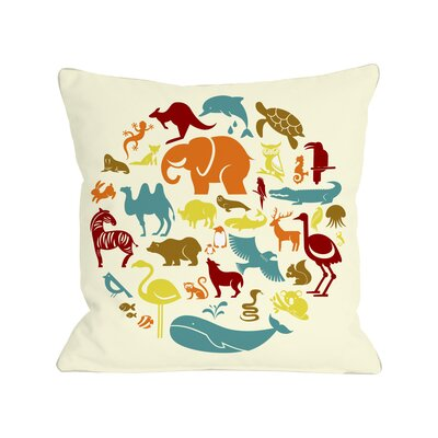 Safari Animals Throw Pillow Size: 18 H x 18 W