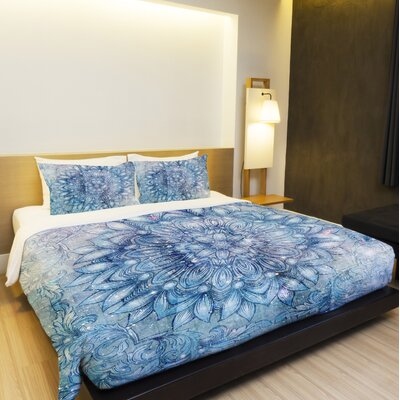 Galactic Flower Fleece Duvet Cover Size: King