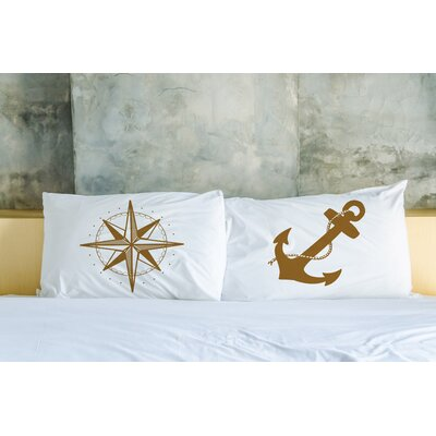 Better Together 2 Piece Compass and Anchor Pillow Case Set