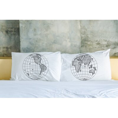 Better Together 2 Piece Globes Pillow Case Set