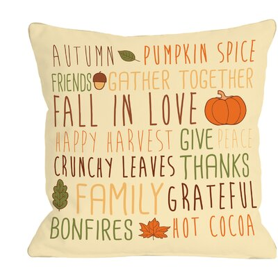 Harvest Word Collage Throw Pillow Size: 16 H x 16 W x 3 D