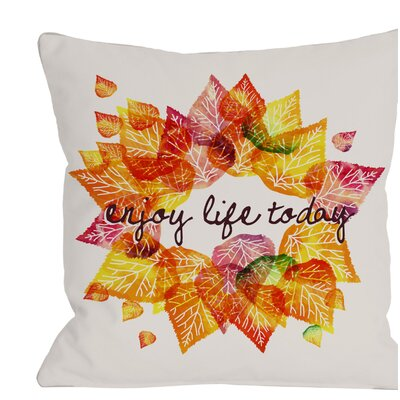 Enjoy Leaves Throw Pillow Size: 16 H x 16 W x 3 D