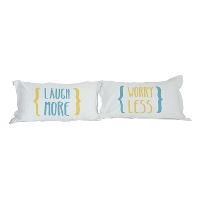 Laugh More Worry Less 2 Piece Pillowcase Set Color: Blue / Yellow