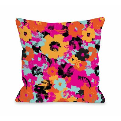 Summers Day Floral Fuchsia Throw Pillow Size: 18 x 18