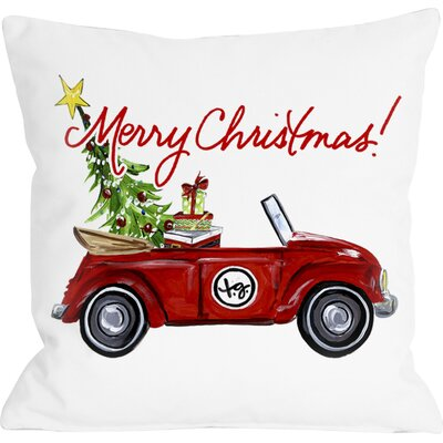 Christmas Bug Linen Throw Pillow