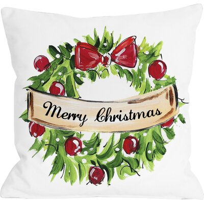 Christmas Wreath Linen Throw Pillow