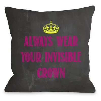 Invisible Crown Chalkboard Throw Pillow Color: Pink, Size: 26 H x 26 W