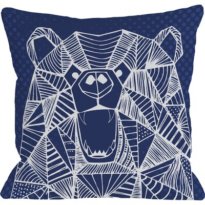 Geo Bear Throw Pillow Size: 16 H x 16 W, Color: Navy