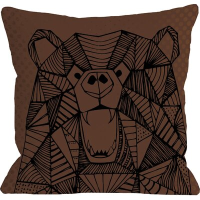 Geo Bear Throw Pillow Size: 18 H x 18 W, Color: Brown