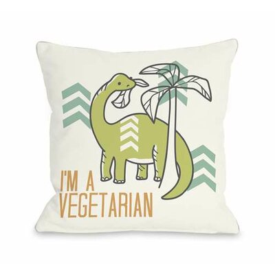 Vegetarian Dino Throw Pillow Size: 16 H x 16 W x 3 D