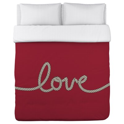 Love Rope Fleece Duvet Cover Size: King, Color: Red