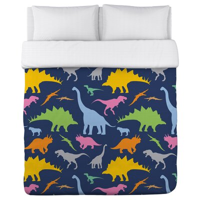 Crazy Dinos Lightweight Duvet Cover Set Size: Full/Queen