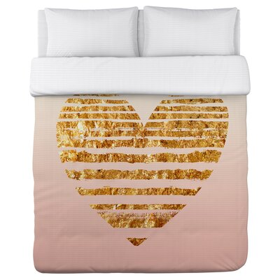 Gold Striped Heart Fleece Duvet Cover Size: Full / Queen