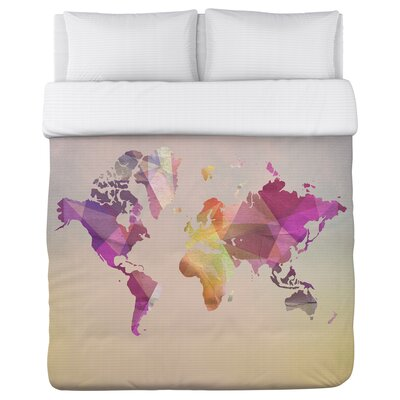 World in Abstract Fleece Duvet Cover Size: King