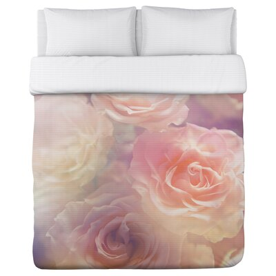 Rainbow Rose Garden Fleece Duvet Cover Size: King