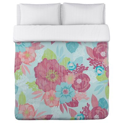 Romantic Florals Duvet Cover Size: King