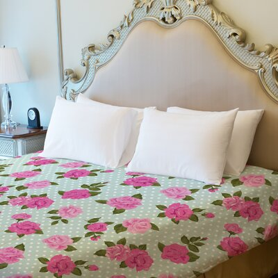 Lovely Florals Fleece Duvet Cover Size: Full / Queen