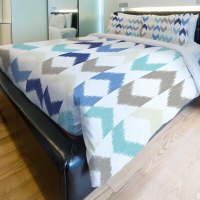 Soft Ikat Arrows Fleece Duvet Cover Size: Full / Queen