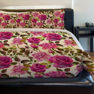 Rose Garden Fleece Duvet Cover Size: King