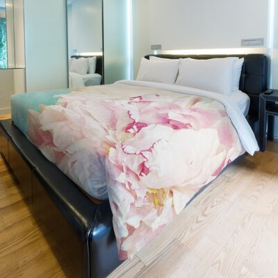 Delicate Peony Fleece Duvet Cover Size: King