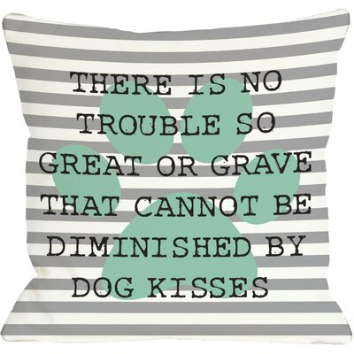 Doggy D�cor No Trouble Dog Kisses Stripe Paw Throw Pillow Size: 18 H x 18 W