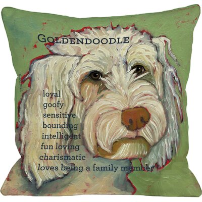 Doggy Golden Doodle Throw Pillow Size: 26 H x 26 W