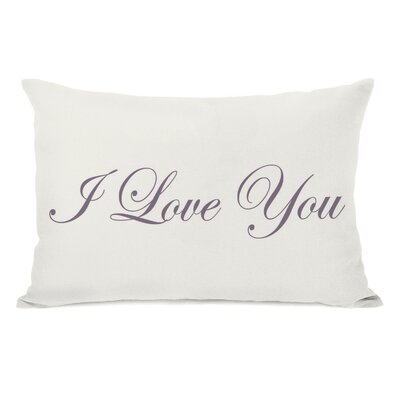Je Taime/I Love You Reversible Lumbar Pillow Color: Purple