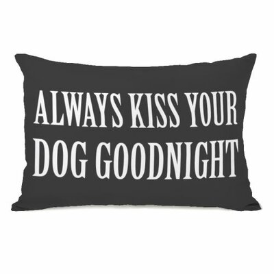 Always Kiss Your Dog Goodnight Fleece Lumbar Pillow