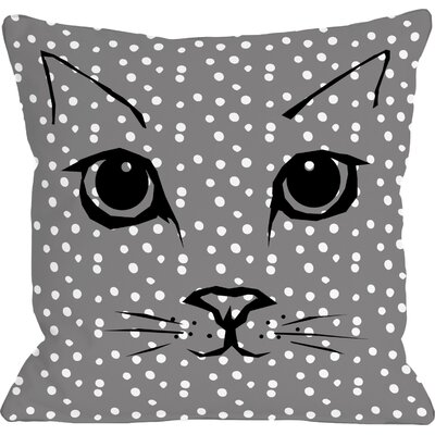 Cat Face Dots Fleece Throw Pillow Size: 16 x 16