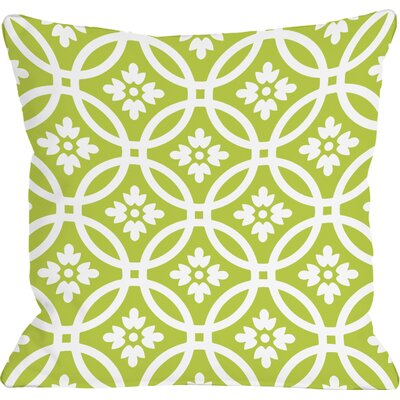 Meredith Circles Throw Pillow Size: 16 H x 16 W, Color: Lime White