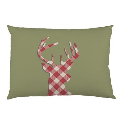 Deer Silhouette Plaid Pillow Case