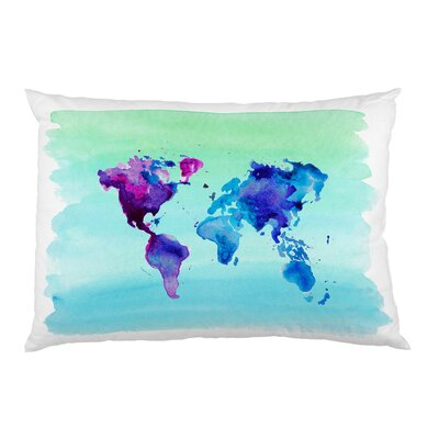 World in Watercolor Fleece Standard Pillow Case