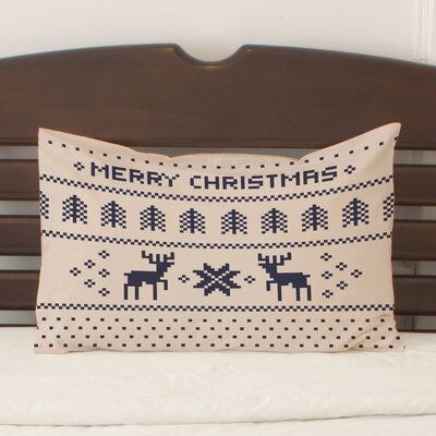Christmas Sweater Fleece Standard Pillow Case Color: Tan / Navy
