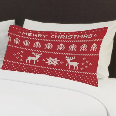 Christmas Sweater Fleece Standard Pillow Case Color: Red / White