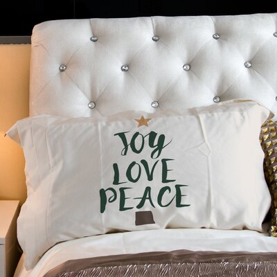 Joy Love Peace Tree Fleece Standard Pillow Case