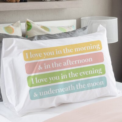Morning Afternoon Evening Moon Pillow Case